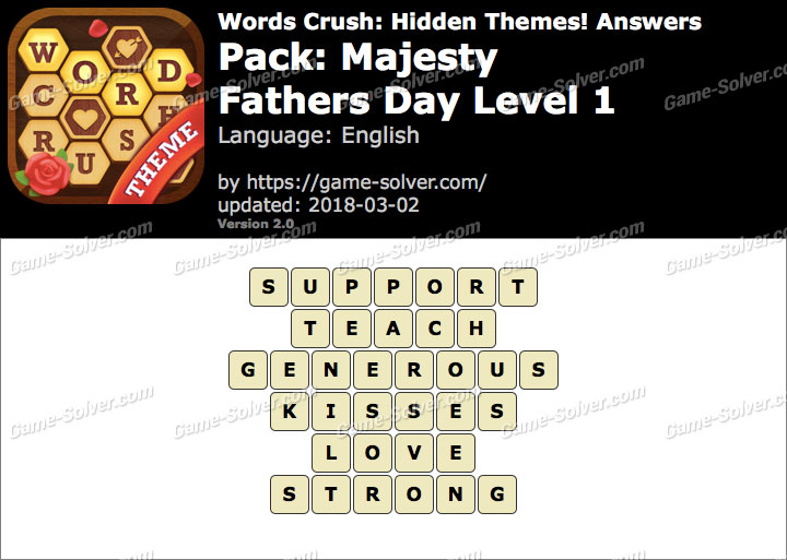 Words Crush Majesty-Fathers Day Level 1 Answers