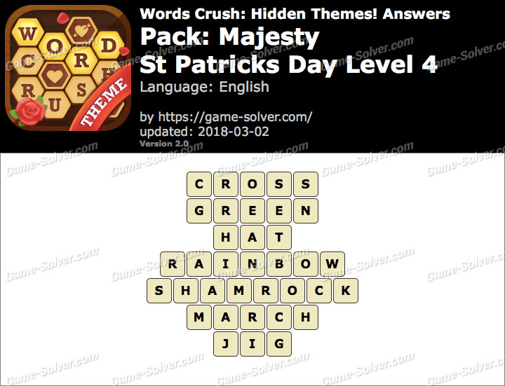 Words Crush Majesty-St Patricks Day Level 4 Answers