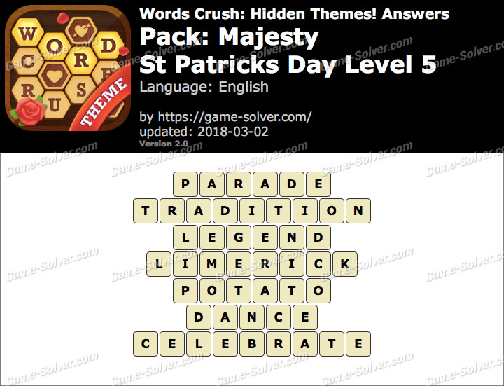 Words Crush Majesty-St Patricks Day Level 5 Answers