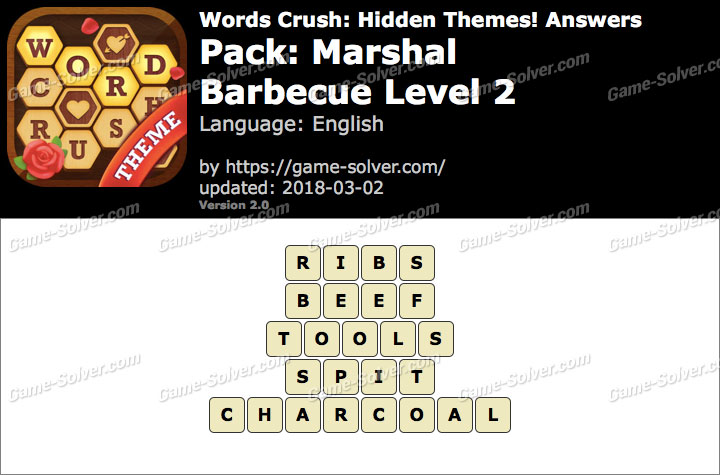 Words Crush Marshal-Barbecue Level 2 Answers