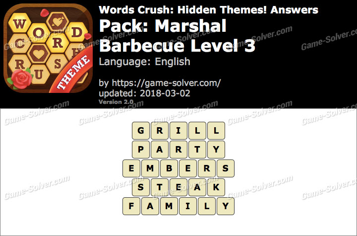 Words Crush Marshal-Barbecue Level 3 Answers