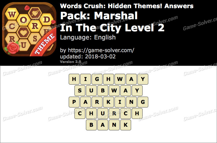 Words Crush Marshal-In The City Level 2 Answers