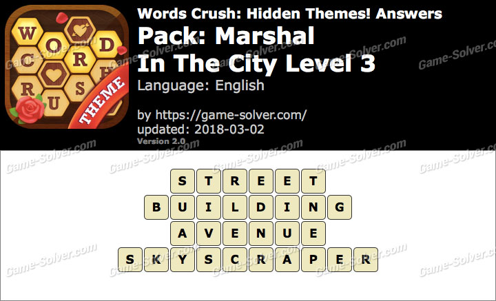 Words Crush Marshal-In The City Level 3 Answers