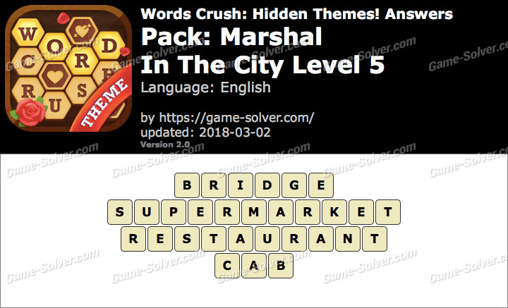 Words Crush Marshal-In The City Level 5 Answers