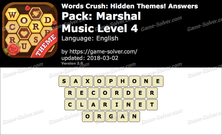 Words Crush Marshal-Music Level 4 Answers