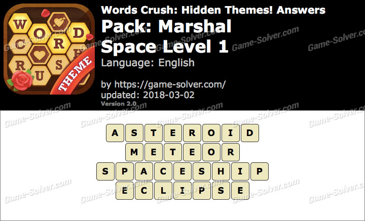 Words Crush Marshal-Space Level 1 Answers