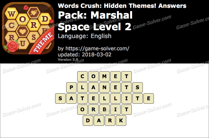 Words Crush Marshal-Space Level 2 Answers
