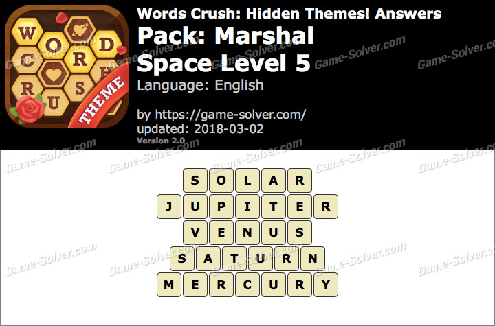 Words Crush Marshal-Space Level 5 Answers