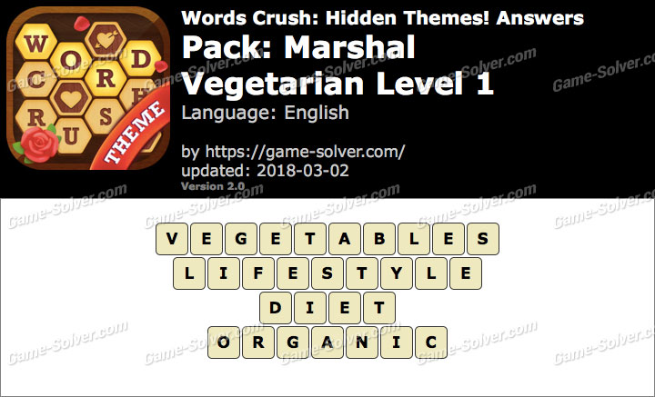Words Crush Marshal-Vegetarian Level 1 Answers