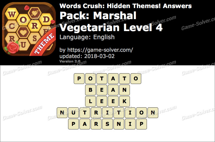 Words Crush Marshal-Vegetarian Level 4 Answers
