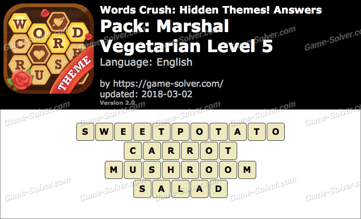 Words Crush Marshal-Vegetarian Level 5 Answers