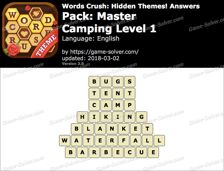 Words Crush Master-Camping Level 1 Answers