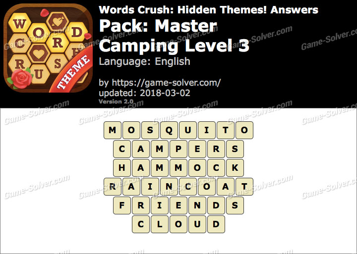 Words Crush Master-Camping Level 3 Answers