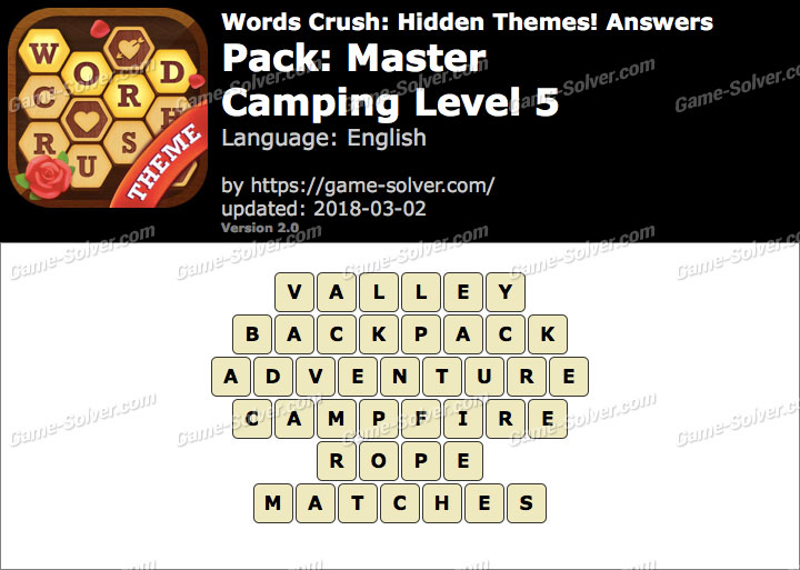 Words Crush Master-Camping Level 5 Answers