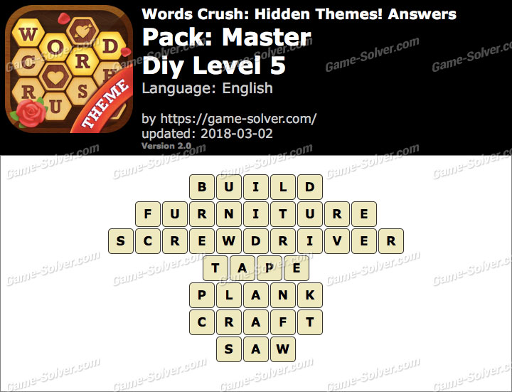 Words Crush Master-Diy Level 5 Answers