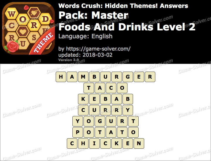 Words Crush Master-Foods And Drinks Level 2 Answers