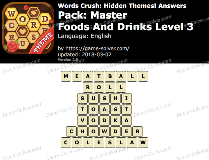 Words Crush Master-Foods And Drinks Level 3 Answers