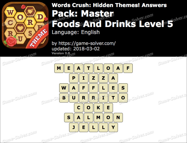 Words Crush Master-Foods And Drinks Level 5 Answers