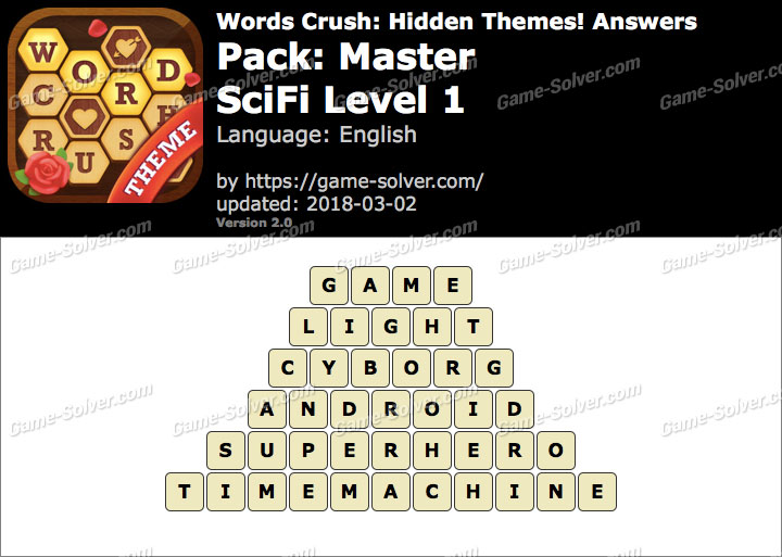 Words Crush Master-SciFi Level 1 Answers