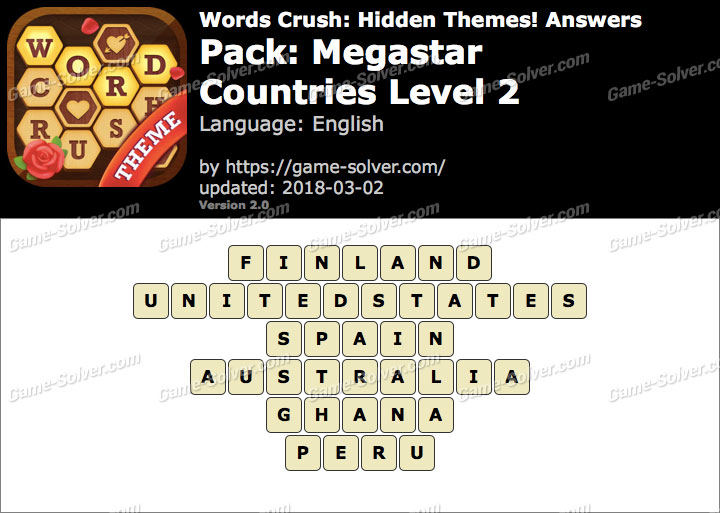 Words Crush Megastar-Countries Level 2 Answers