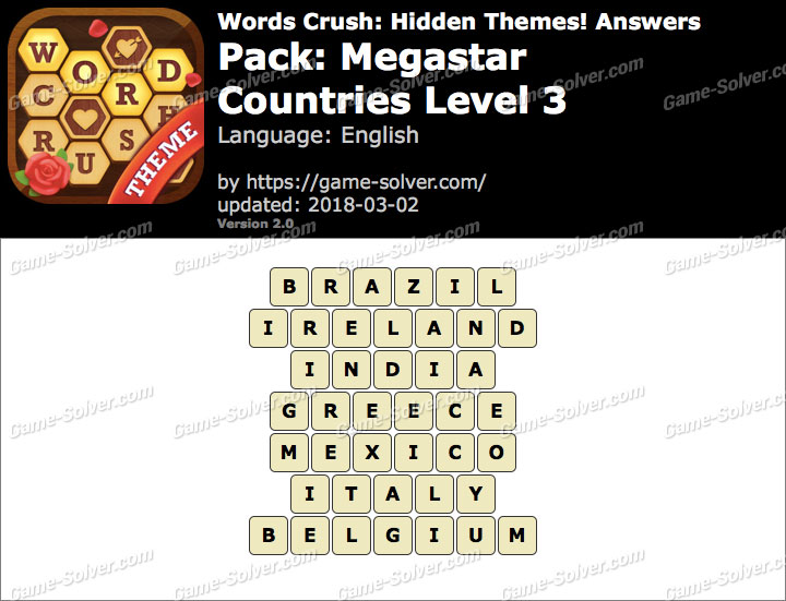 Words Crush Megastar-Countries Level 3 Answers