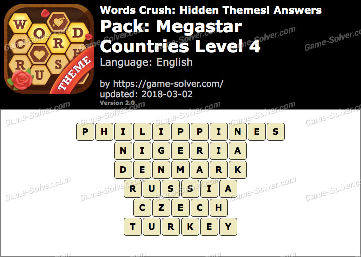 Words Crush Megastar-Countries Level 4 Answers
