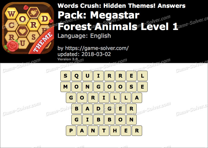 Words Crush Megastar-Forest Animals Level 1 Answers