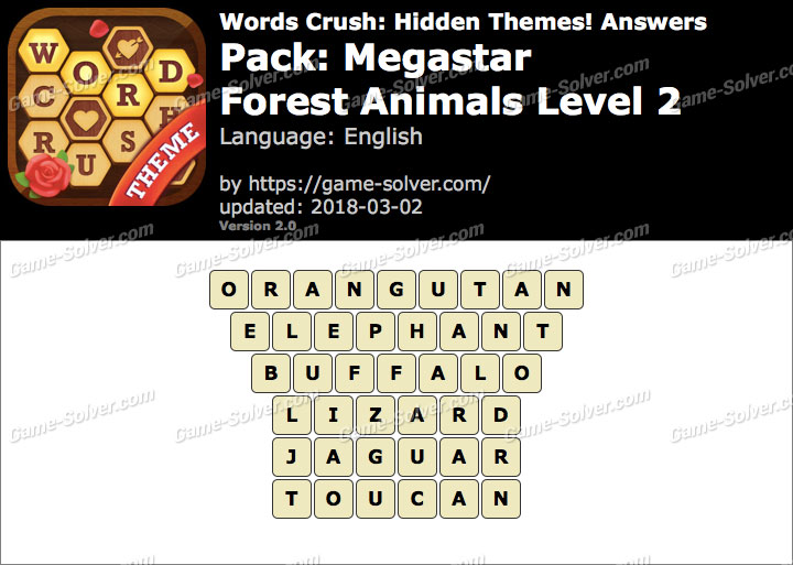 Words Crush Megastar-Forest Animals Level 2 Answers