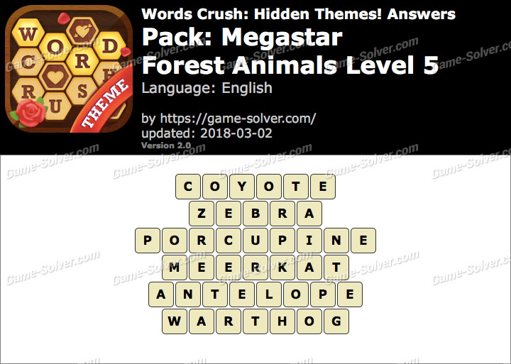 Words Crush Megastar-Forest Animals Level 5 Answers