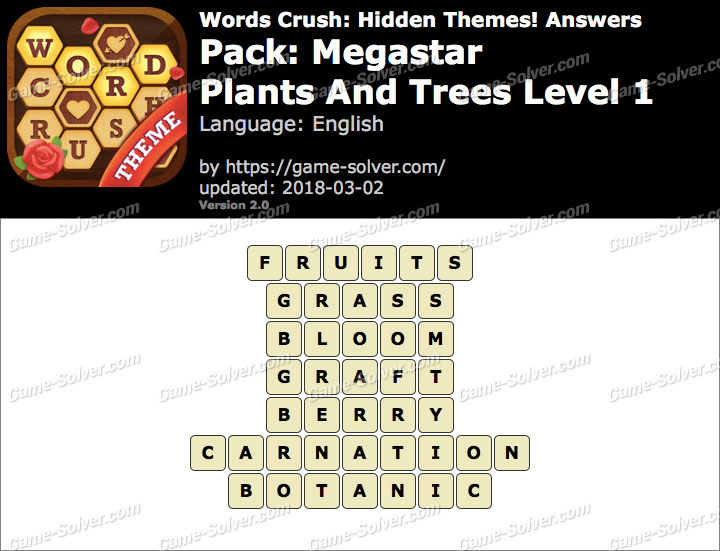 Words Crush Megastar-Plants And Trees Level 1 Answers
