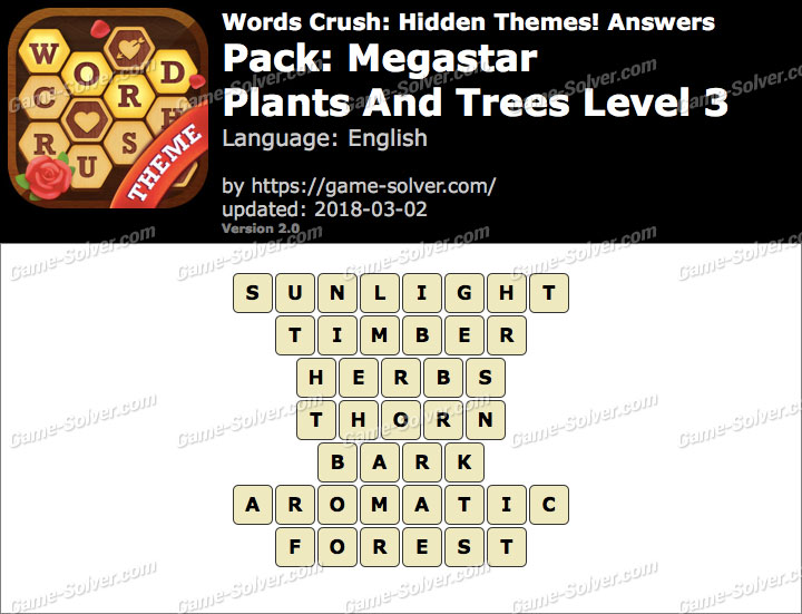 Words Crush Megastar-Plants And Trees Level 3 Answers
