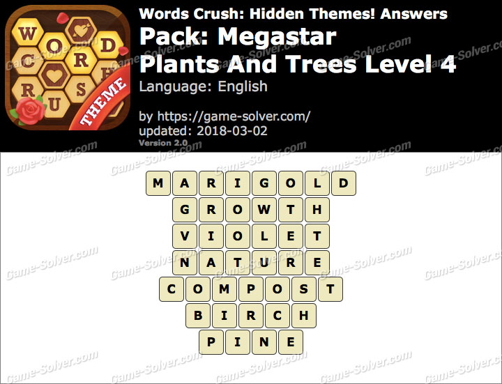 Words Crush Megastar-Plants And Trees Level 4 Answers