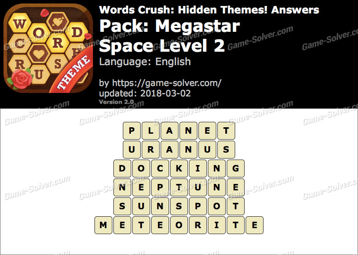Words Crush Megastar-Space Level 2 Answers