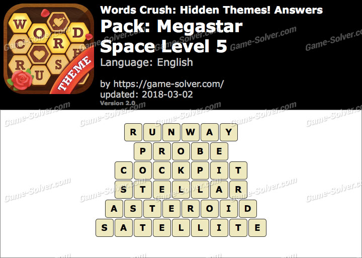 Words Crush Megastar-Space Level 5 Answers