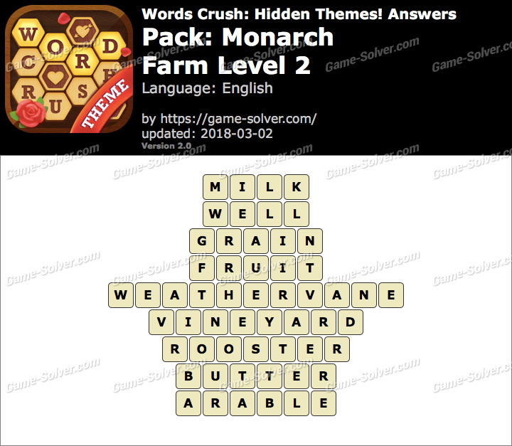 Words Crush Monarch-Farm Level 2 Answers