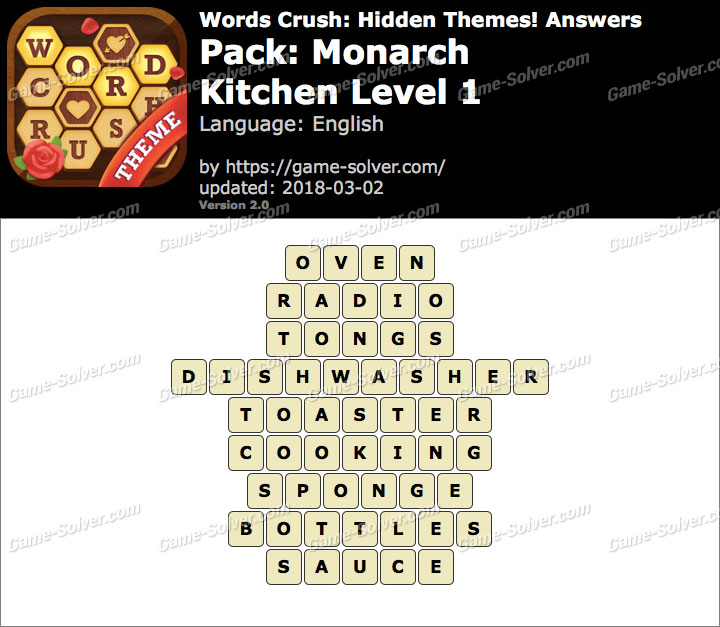 Words Crush Monarch-Kitchen Level 1 Answers