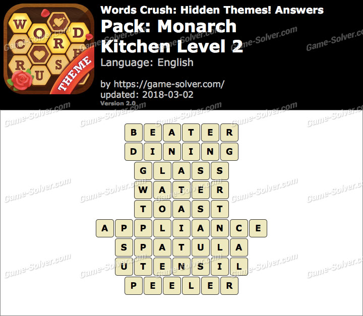 Words Crush Monarch-Kitchen Level 2 Answers