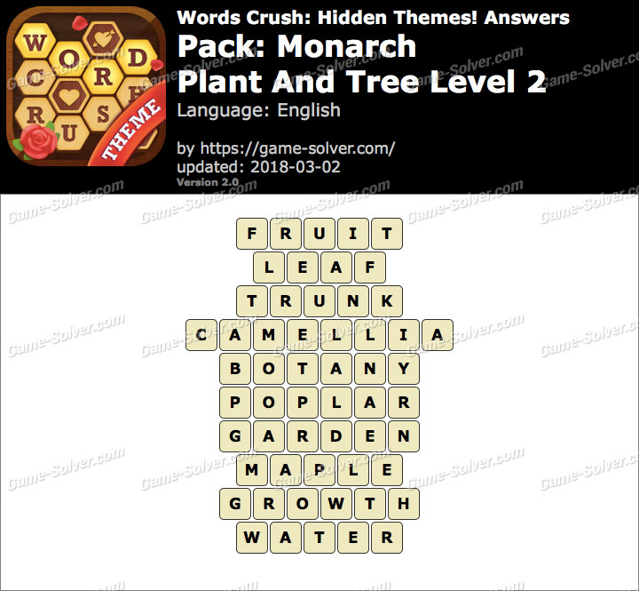 Words Crush Monarch-Plant And Tree Level 2 Answers