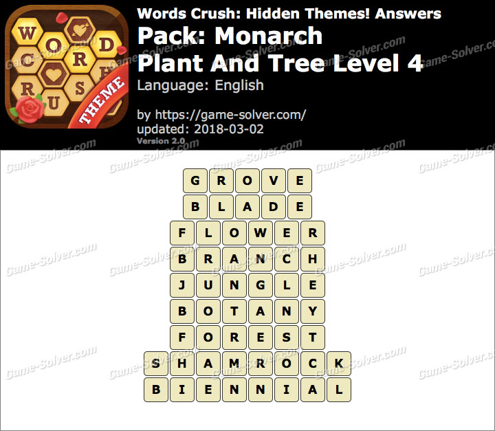 Words Crush Monarch-Plant And Tree Level 4 Answers