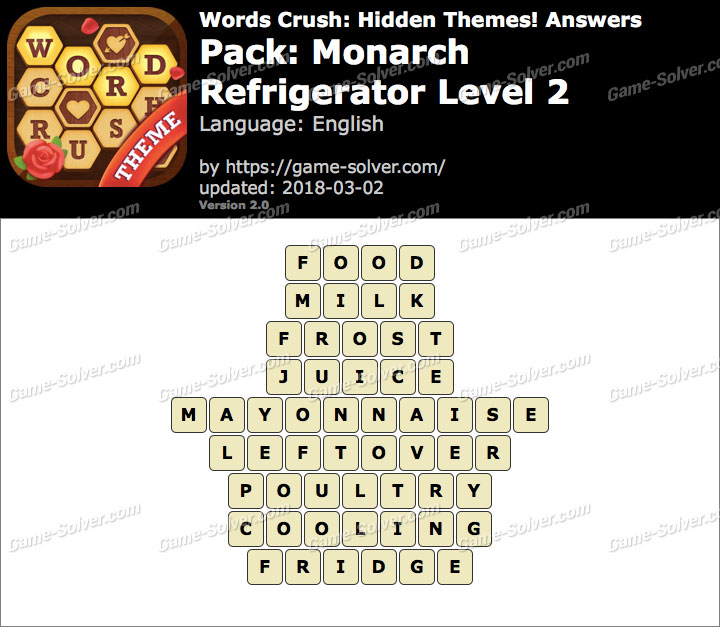 Words Crush Monarch-Refrigerator Level 2 Answers
