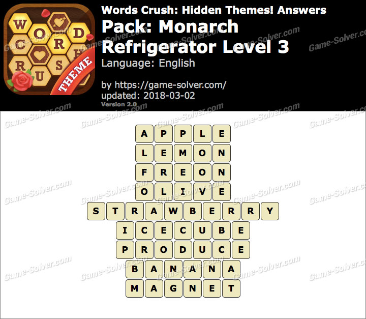 Words Crush Monarch-Refrigerator Level 3 Answers