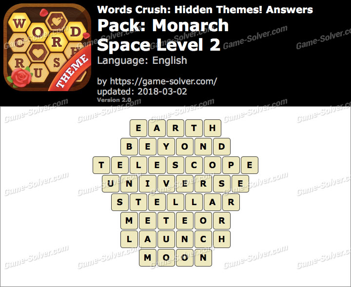 Words Crush Monarch-Space Level 2 Answers