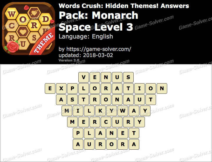 Words Crush Monarch-Space Level 3 Answers