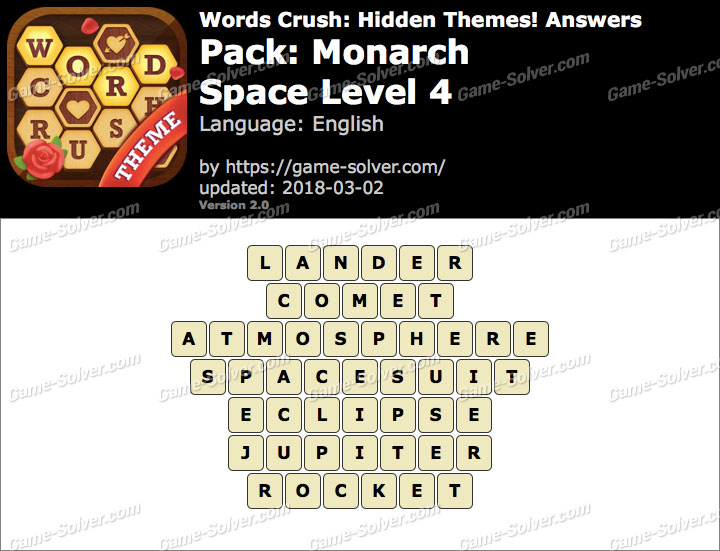 Words Crush Monarch-Space Level 4 Answers