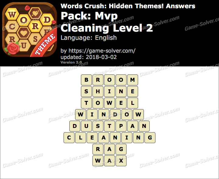 Words Crush Mvp-Cleaning Level 2 Answers