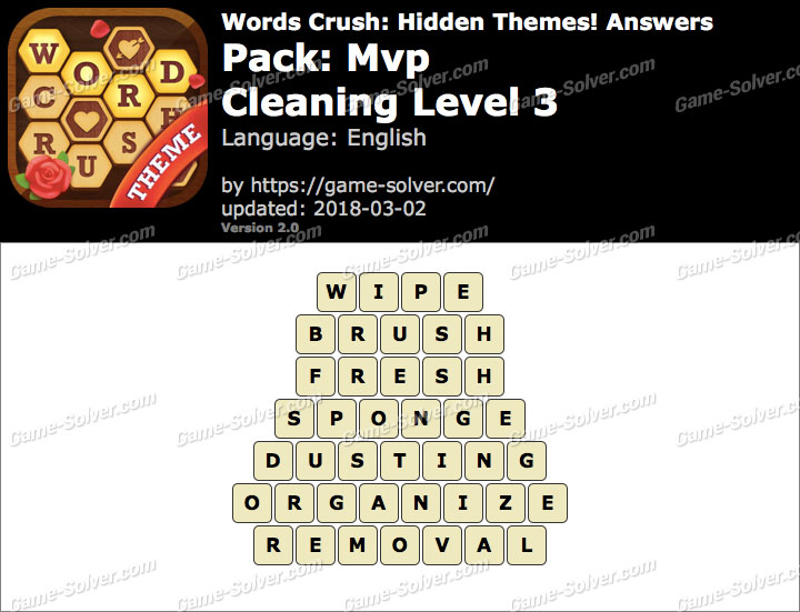 Words Crush Mvp-Cleaning Level 3 Answers