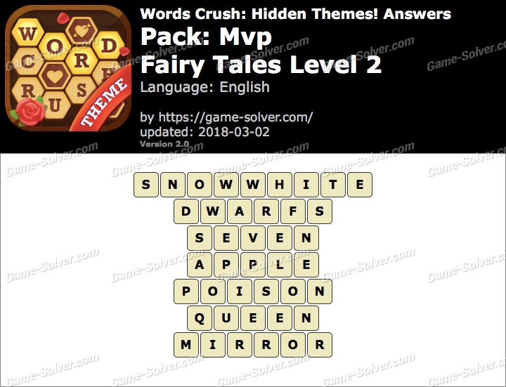 Words Crush Mvp-Fairy Tales Level 2 Answers
