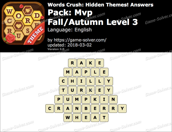 Words Crush Mvp-Fall Autumn Level 3 Answers