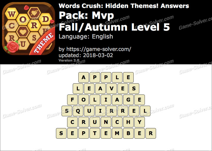 Words Crush Mvp-Fall Autumn Level 5 Answers