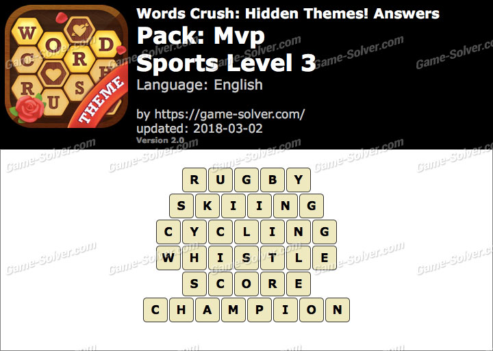 Words Crush Mvp-Sports Level 3 Answers